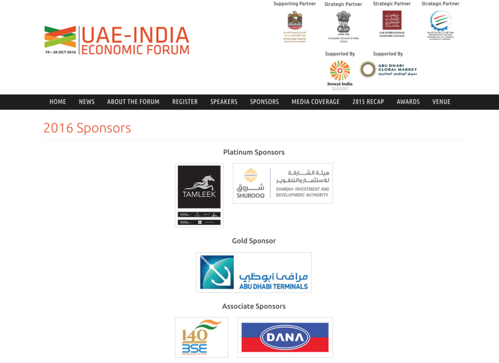 dana uae india economic forum bloomberg associate sponsor
