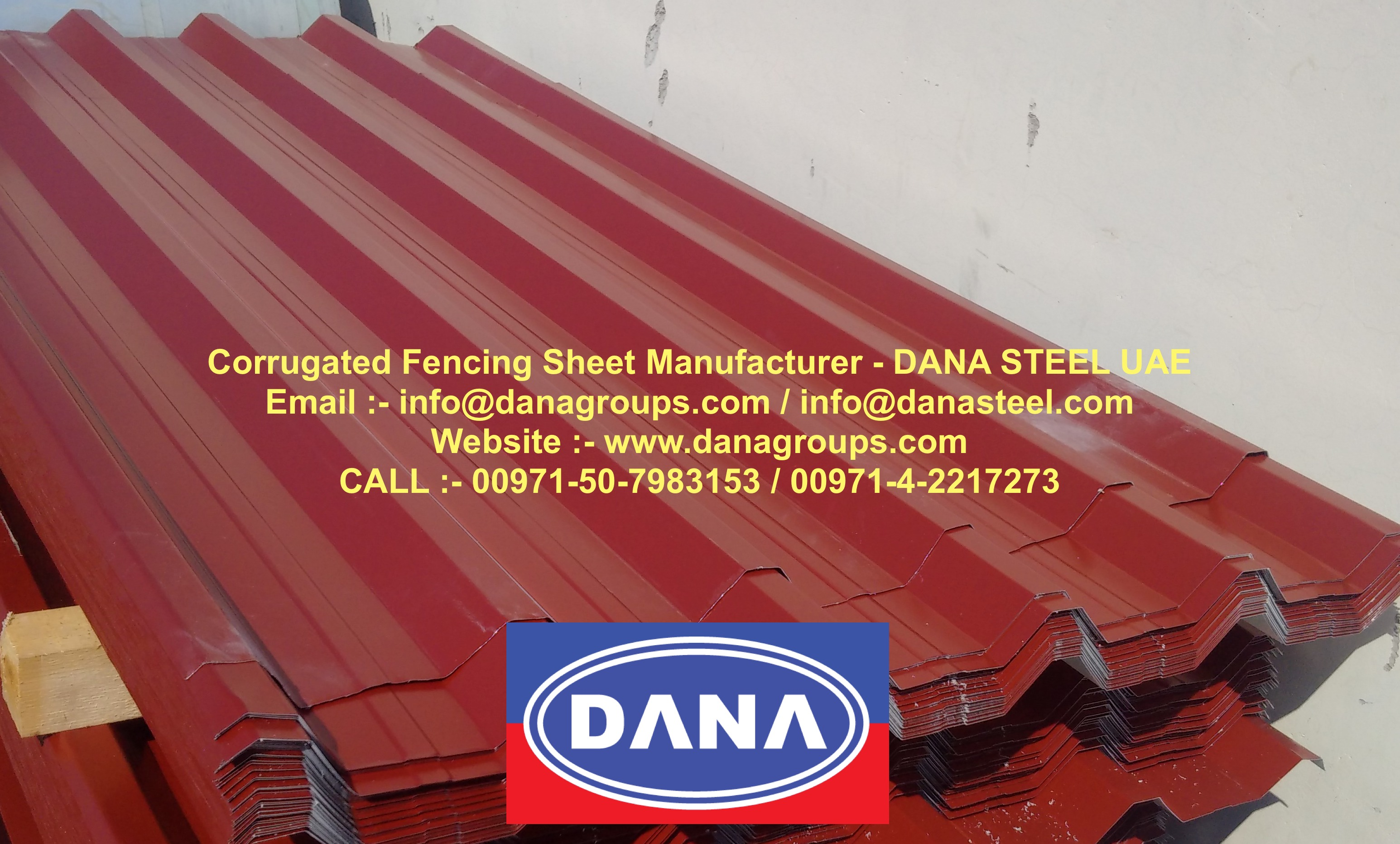 Oxide Red Corrugated Fencing Sheet Uae Manufacturer Dana