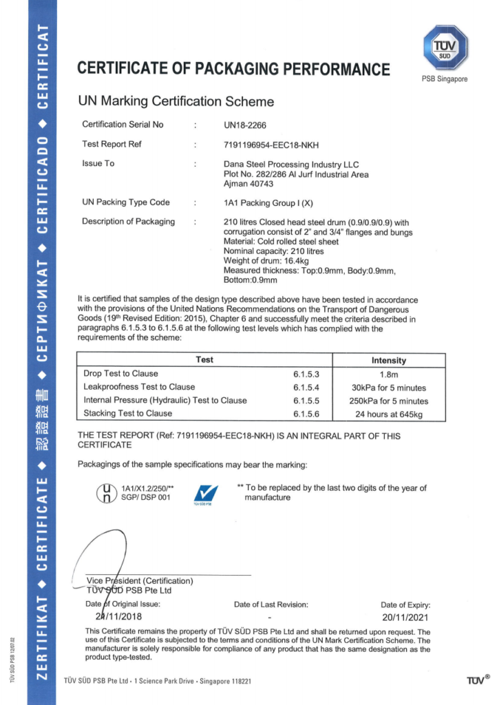 UN MARKING CERTIFICATION APPROVAL _ DANA STEEL UAE