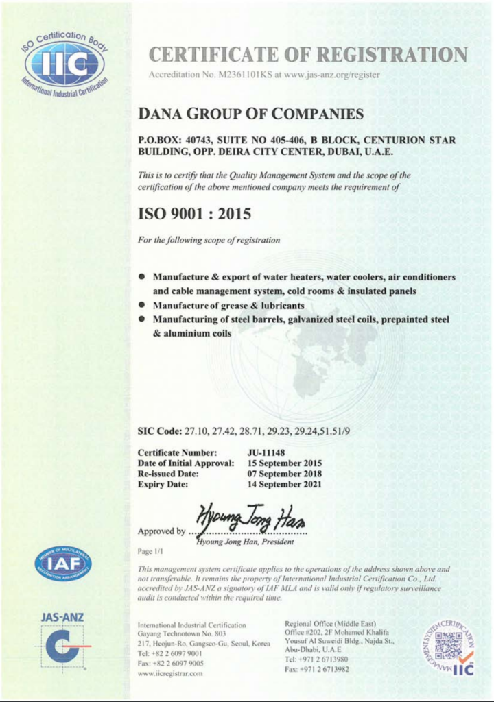 Group ISO 9001:2015 Certificate