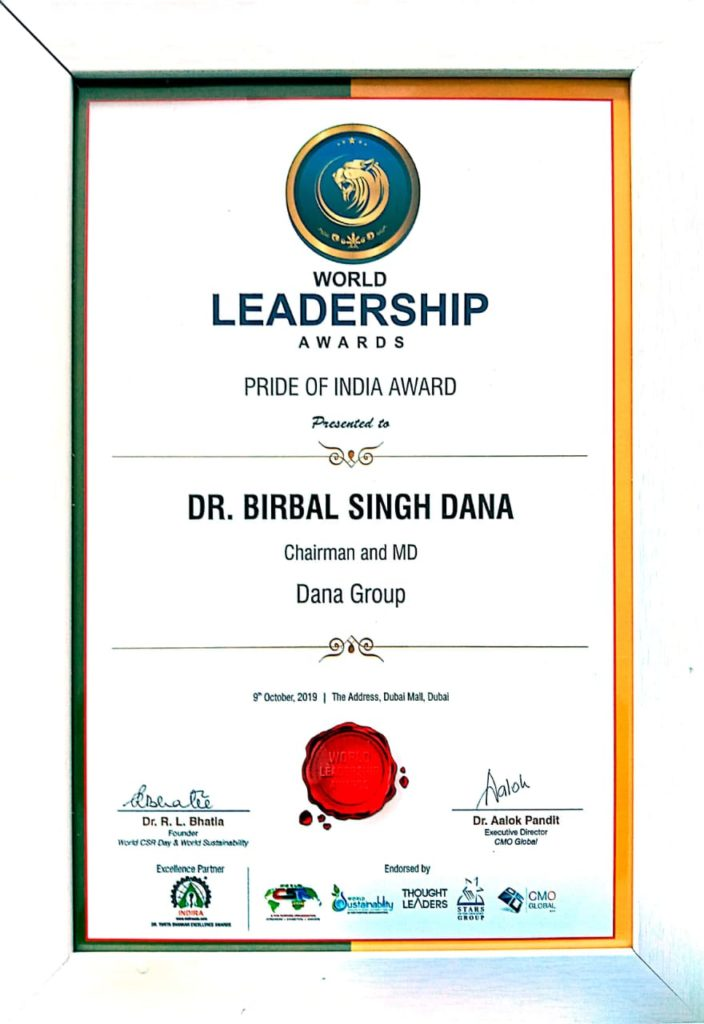 October 2019 Dr B S Dana Group Chairman Gets Awarded